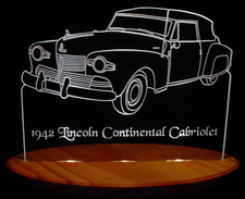 1942 Lincoln Continental Cabriolet Acrylic Lighted Edge Lit LED Car Sign / Light Up Plaque
