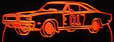 1969 Charger 01 on door Acrylic Lighted Edge Lit LED Sign / Light Up Plaque Full Size Made in USA