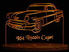1954 Lincoln Capri Acrylic Lighted Edge Lit LED Car Sign / Light Up Plaque