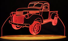 Pickup Truck (Old) Acrylic Lighted Edge Lit LED Sign / Light Up Plaque Full Size Made in USA