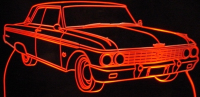 1962 Ford Galaxie Acrylic Lighted Edge Lit LED Sign / Light Up Plaque Full Size Made in USA