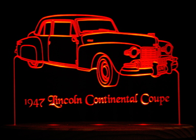 1947 Lincoln Continental Coupe Acrylic Lighted Edge Lit LED Car Sign / Light Up Plaque