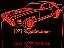 1971 Roadrunner Acrylic Lighted Edge Lit LED Sign / Light Up Plaque Full Size Made in USA