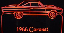 1966 Coronet Acrylic Lighted Edge Lit LED Sign / Light Up Plaque Full Size Made in USA