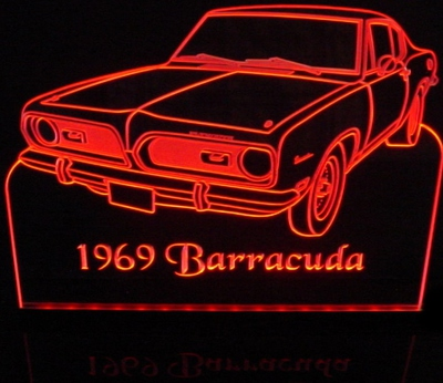 1969 Barracuda Cuda Acrylic Lighted Edge Lit LED Sign / Light Up Plaque Full Size Made in USA