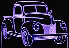 1940 Ford Pickup Truck Acrylic Lighted Edge Lit LEDTruck Sign / Light Up Plaque