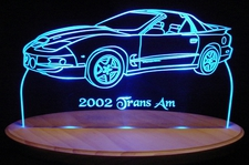 2002 Pontiac Trans Am Acrylic Lighted Edge Lit LED Sign / Light Up Plaque Full Size Made in USA