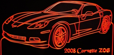 2008 Corvette Z06 Acrylic Lighted Edge Lit LED Sign / Light Up Plaque Full Size Made in USA