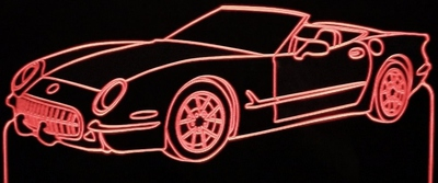 1953 Chevy Corvette Convertible Acrylic Lighted Edge Lit LED Sign / Light Up Plaque Full Size Made in USA
