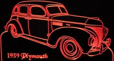 1939 Plymouth 4 Door Acrylic Lighted Edge Lit LED Sign / Light Up Plaque Full Size Made in USA