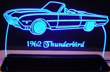 1962 Tbird Convertible Acrylic Lighted Edge Lit LED Sign / Light Up Plaque Thunderbird Full Size Made in USA