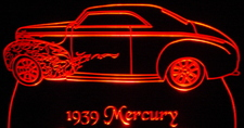 1939 Mercury Acrylic Lighted Edge Lit LED Car Sign / Light Up Plaque