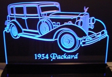 1934 Packard Acrylic Lighted Edge Lit LED Car Sign / Light Up Plaque