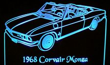 1968 Corvair Monza Convertible Acrylic Lighted Edge Lit LED Sign / Light Up Plaque Full Size Made in USA