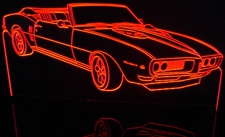 1968 Pontiac Firebird Convertible Acrylic Lighted Edge Lit LED Car Sign / Light Up Plaque