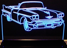 1958 Cadillac Convertible Acrylic Lighted Edge Lit LED Sign / Light Up Plaque Full Size Made in USA