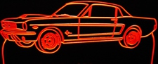1965 Ford Mustang Coupe Acrylic Lighted Edge Lit LED Car Sign / Light Up Plaque