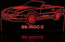 1988 Camaro IROC-Z Acrylic Lighted Edge Lit LED Sign / Light Up Plaque Full Size Made in USA