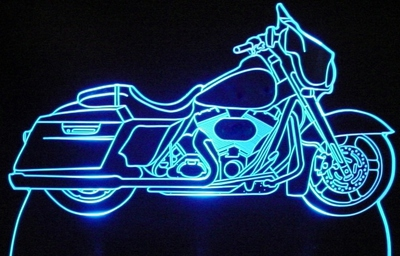2011 Street Glide Touring Motorcycle Acrylic Lighted Edge Lit Bike Sign / Light Up Plaque