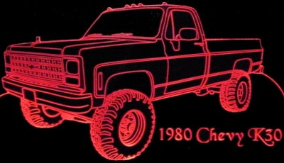 1980 Chevy Pickup Truck K30 Acrylic Lighted Edge Lit LED Sign / Light Up Plaque Full Size Made in USA