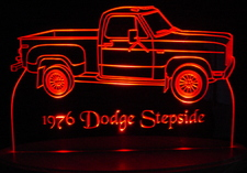 1976 Dodge Pickup Stepside Acrylic Lighted Edge Lit LEDTruck Sign / Light Up Plaque