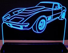 1969 Chevy Corvette Stingray Acrylic Lighted Edge Lit LED Sign / Light Up Plaque Corvette Full Size Made in USA