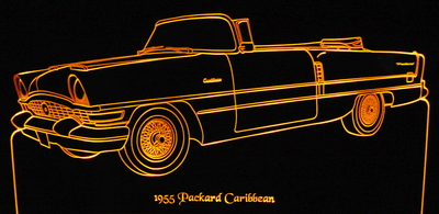 1955 Packard Caribbean Convertible Acrylic Lighted Edge Lit LED Car Sign / Light Up Plaque