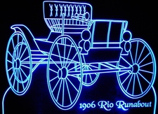 1906 Rio Runabout Acrylic Lighted Edge Lit LED Car Sign / Light Up Plaque