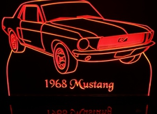 1968 Ford Mustang Acrylic Lighted Edge Lit LED Car Sign / Light Up Plaque