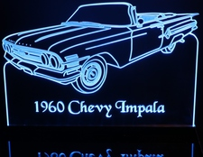 1960 Chevy Impala Convertible Acrylic Lighted Edge Lit LED Sign / Light Up Plaque Full Size Made in USA