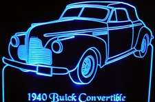 1940 Buick Convertible Acrylic Lighted Edge Lit LED Car Sign / Light Up Plaque 40