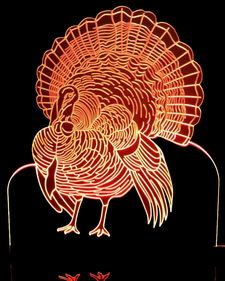Turkey Thanksgiving Light Acrylic Lighted Edge Lit LED Sign / Light Up Plaque