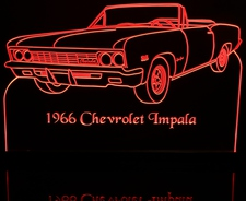 1966 Chevy Impala SS Convertible Acrylic Lighted Edge Lit LED Sign / Light Up Plaque Chevrolet Full Size Made in USA