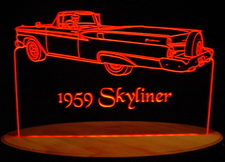 1959 Ford Skyliner Convertible (Rear) Acrylic Lighted Edge Lit LED Car Sign / Light Up Plaque