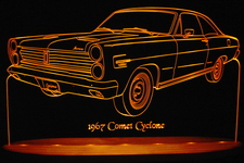 1967 Mercury Comet Cyclone Acrylic Lighted Edge Lit LED Car Sign / Light Up Plaque
