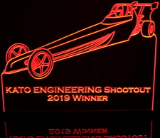 Jr Dragster (add your own text) Acrylic Lighted Edge Lit LED Sign / Light Up Plaque Full Size Made in USA