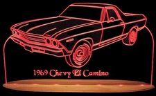1969 Chevy El Camino Acrylic Lighted Edge Lit LED Sign / Light Up Plaque Full Size Made in USA