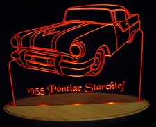 1955 Pontiac Starchief Acrylic Lighted Edge Lit LED Car Sign / Light Up Plaque
