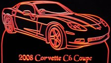 2008 Corvette C6 Acrylic Lighted Edge Lit LED Sign / Light Up Plaque Full Size Made in USA