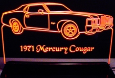 1971 Mercury Cougar Acrylic Lighted Edge Lit LED Car Sign / Light Up Plaque