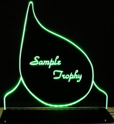 Teardrop Trophy Award Trophies Add your text Acrylic Lighted Edge Lit LED Sign Light Up Plaque Full Size Made in the USA
