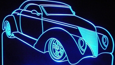 1937 Hot Rod Roadster Acrylic Lighted Edge Lit LED Sign / Light Up Plaque Full Size Made in USA