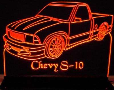 1994 Chevy S10 Pickup Truck Acrylic Lighted Edge Lit LED Sign / Light Up Plaque Full Size Made in USA