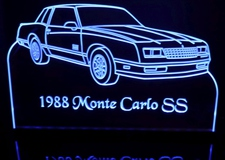 1988 Monte Carlo SS Acrylic Lighted Edge Lit LED Sign / Light Up Plaque Full Size Made in USA