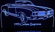 1970 Olds Cutlass Supreme Convertible Acrylic Lighted Edge Lit LED Sign / Light Up Plaque Full Size Made in USA