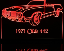 1971 Olds Cutlass 442 Convertible Oldsmobile Acrylic Lighted Edge Lit LED Sign / Light Up Plaque Full Size Made in USA