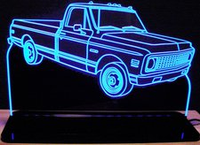 1971 Chevy C10 Pickup Truck Acrylic Lighted Edge Lit LED Sign / Light Up Plaque Full Size Made in USA