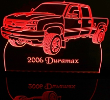 2006 Chevy Duramax Pickup Truck Acrylic Lighted Edge Lit LED Sign / Light Up Plaque Chevrolet Full Size Made in USA