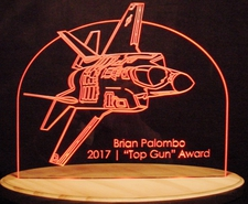 Trophy Award Presentation Acrylic Lighted Edge Lit LED Sign / Light Up Plaque Top Gun Made in USA
