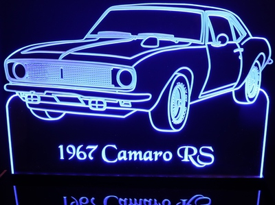 1967 Chevy Camaro RS Only tach Acrylic Lighted Edge Lit LED Car Sign / Light Up Plaque Chevrolet